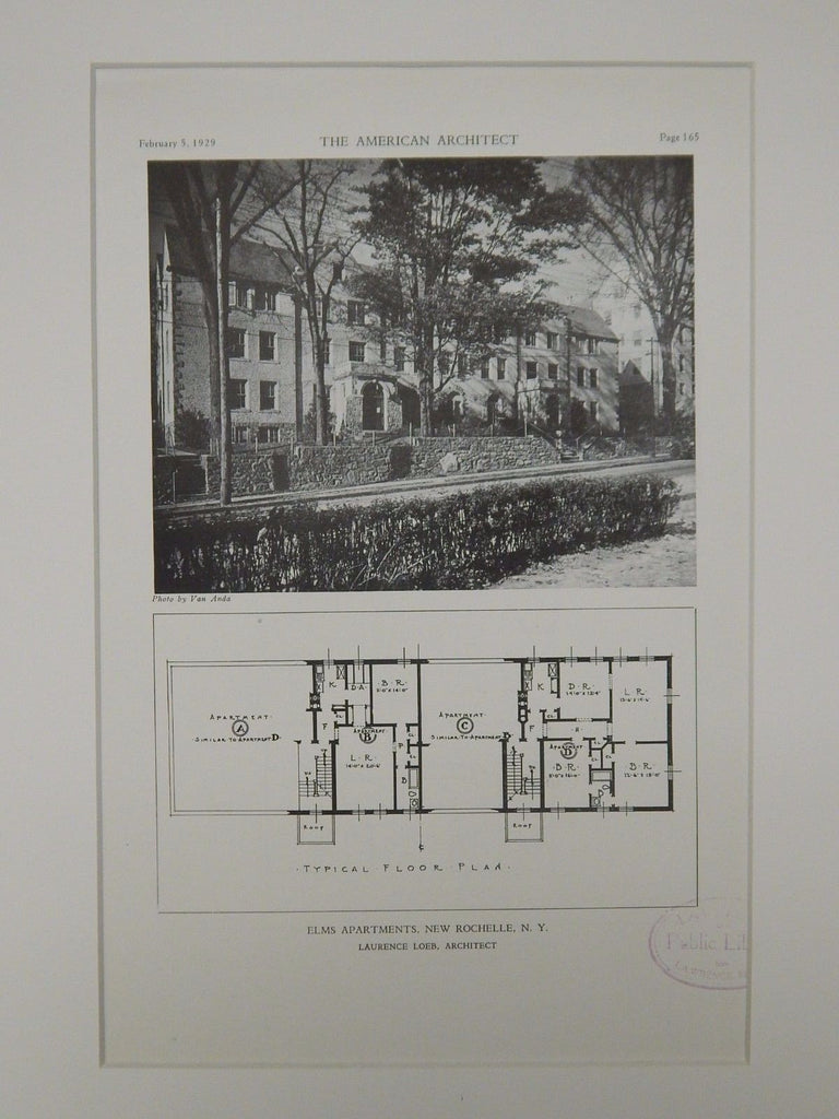 Elms Apartments, New Rochelle, NY, 1929, Lithograph. Lawrence Loeb.