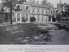 Estate Mrs Arthur Scott Burden,Jericho, Long Island,NY, 1918,Lithograph. John Russel Pope.