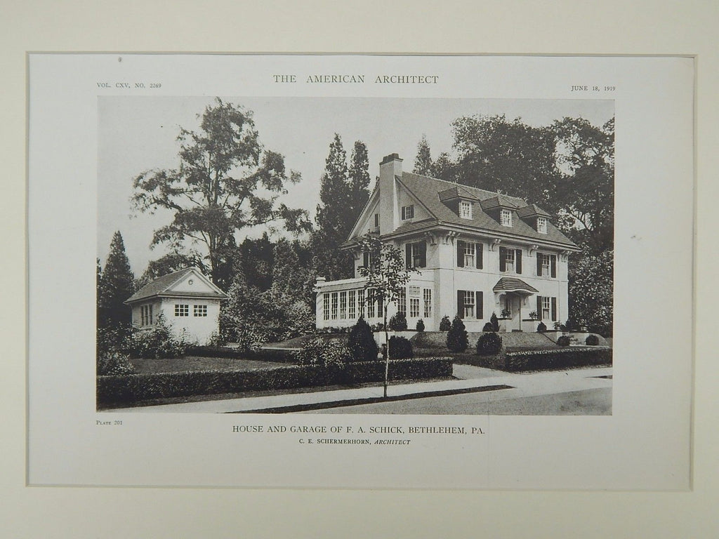 House and Garage of F. A. Schick, Bethlehem, PA, 1919, Lithograph. C. E. Schermerhorn.