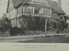 Exterior, House of Charles E. Sexton, Minneapolis, MN, 1918, Lithograph. Hewitt & Brown.