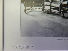 Living Room,House of Paul Tuckerman,115 E.69th,NY,1905, Lithograph. Hoppin & Koen.