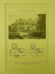 House of J. A. Karnheim, Esq., West Newton, MA, 1914, Lithograph.  Gay & Proctor.