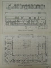 Plan and Sections, U.S. Post Office, Oakland, CA, 1901, Original Plan. James Knox Taylor.