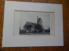 Church In The Gardens, Forest Hills, Long Island, NY, Lithograph,1918. Atterbury.
