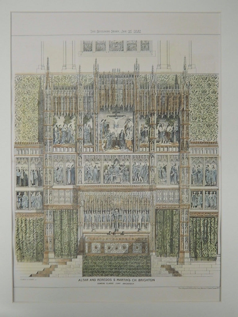 Altar and Reredos, St. Martin's Church, Brighton, UK, 1881, Original Plan. Somers Clark, Jr.