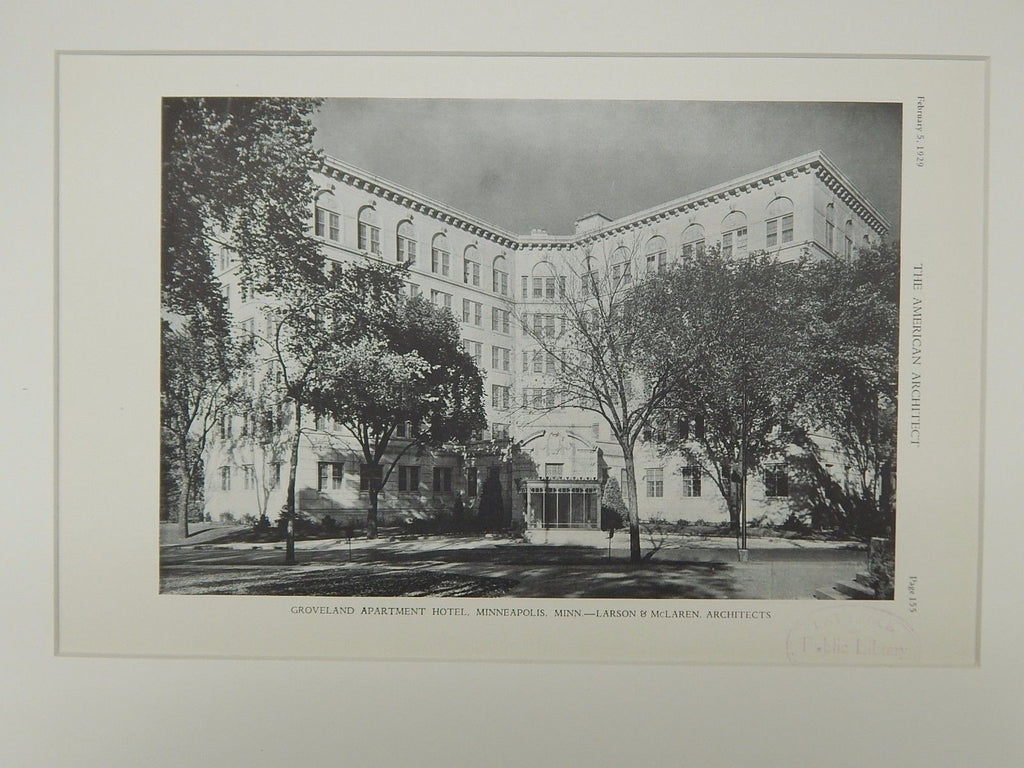 Exterior, Groveland Apartment Hotel, Minneapolis, MN, 1929, Lithograph. Larsen & McLaren.