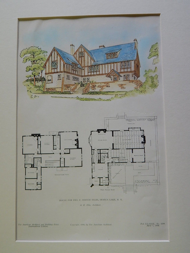 House for Mrs. C. Birton Ellis, Seneca Lake, NY, 1906, Original Plan. A.R. Ellis.