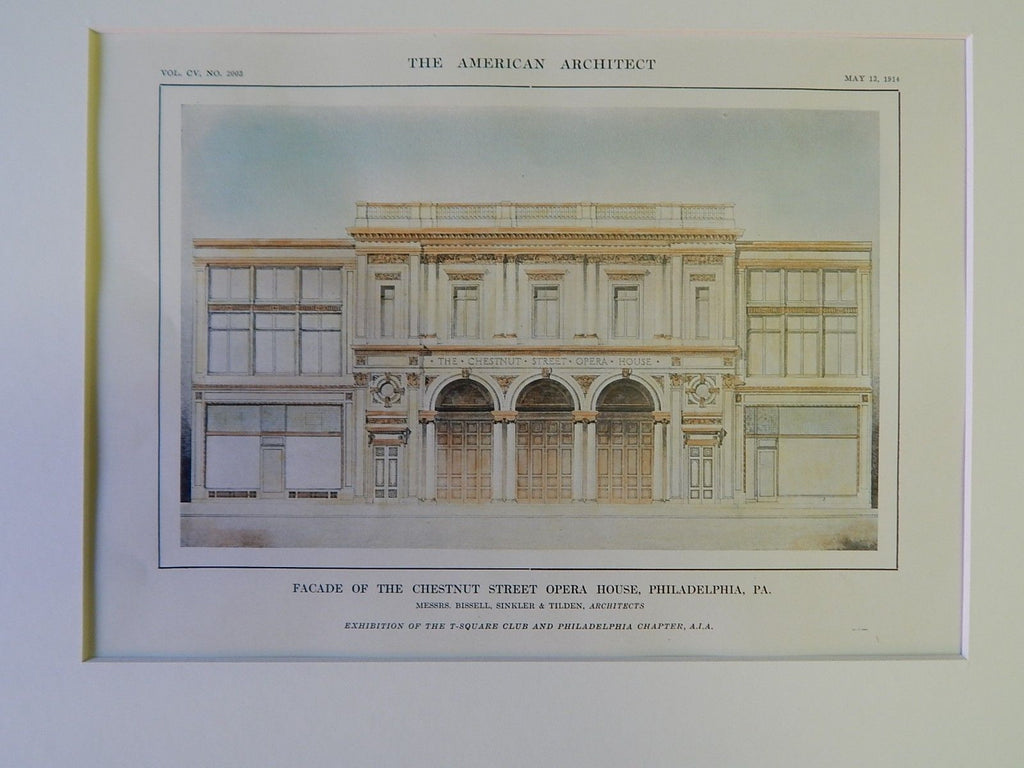 Facade of the Chestnut Street Opera House, Philadelphia, PA, 1914, Original Plan. Bizzell, Sinkler & Tilden.