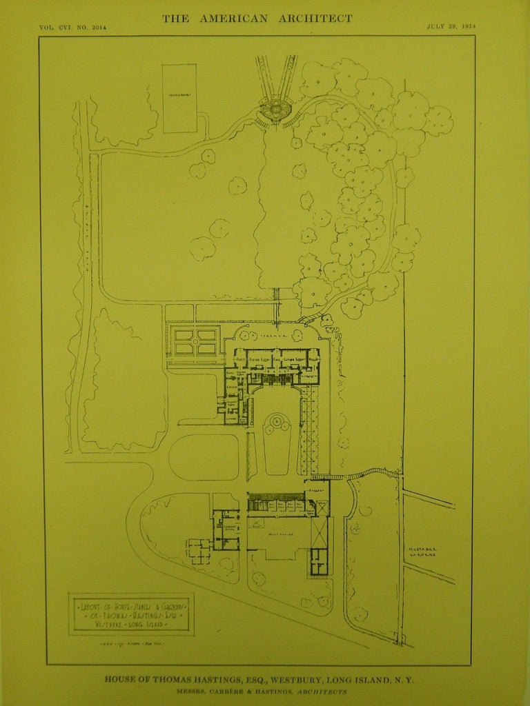 Layout of Grounds, House of Thomas Hastings, Westbury, NY, 1914, Original Plan. Carrere & Hastings