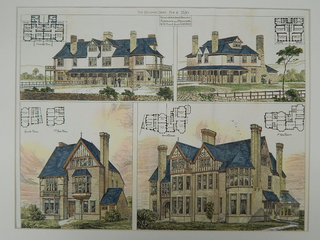 Semi-detached Houses, Axtown, Devon, England, 1880, Original Plan. W.H. Powell.