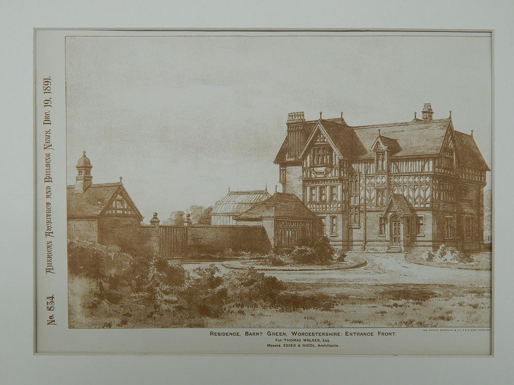Front, Residence for Thomas Walker, Barnt Green, England, 1891, Original Plan. Essex & Nicol.