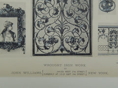Wrought Iron Work by John Williams, New York, NY, 1889, Photogravure.