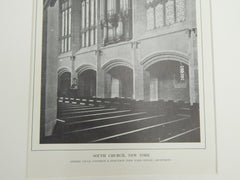 Organ, South Church, New York, 1914. Lithograph. Cram, Goodhue, & Ferguson.