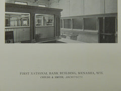 Interior, First National Bank Building, Menasha, WI, 1921, Lithograph. Childs & Smith.