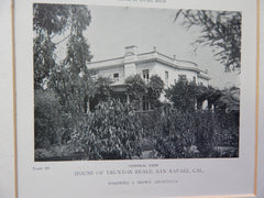 House of Truxton Beale,San Rafael, CA, 1918,Lithograph. Bakewell & Brown.
