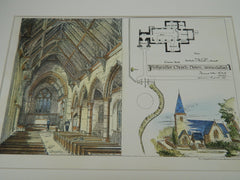 Ballyculter Church, County Down, Ireland, 1880, Original Plan. Thomas Drew.