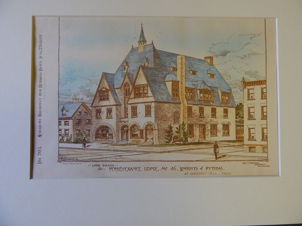 Lodge for Perseverance Lodge,No.46, Knights of Pythias, Chestnut Hill. PA,1889. Original Plan. Geo. T. Pearson.