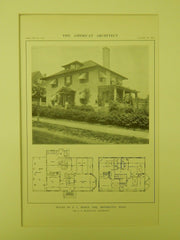 House of P. L. Moses, Esq., Brookline, MA, 1914, Lithograph. L. D. Willicutt.