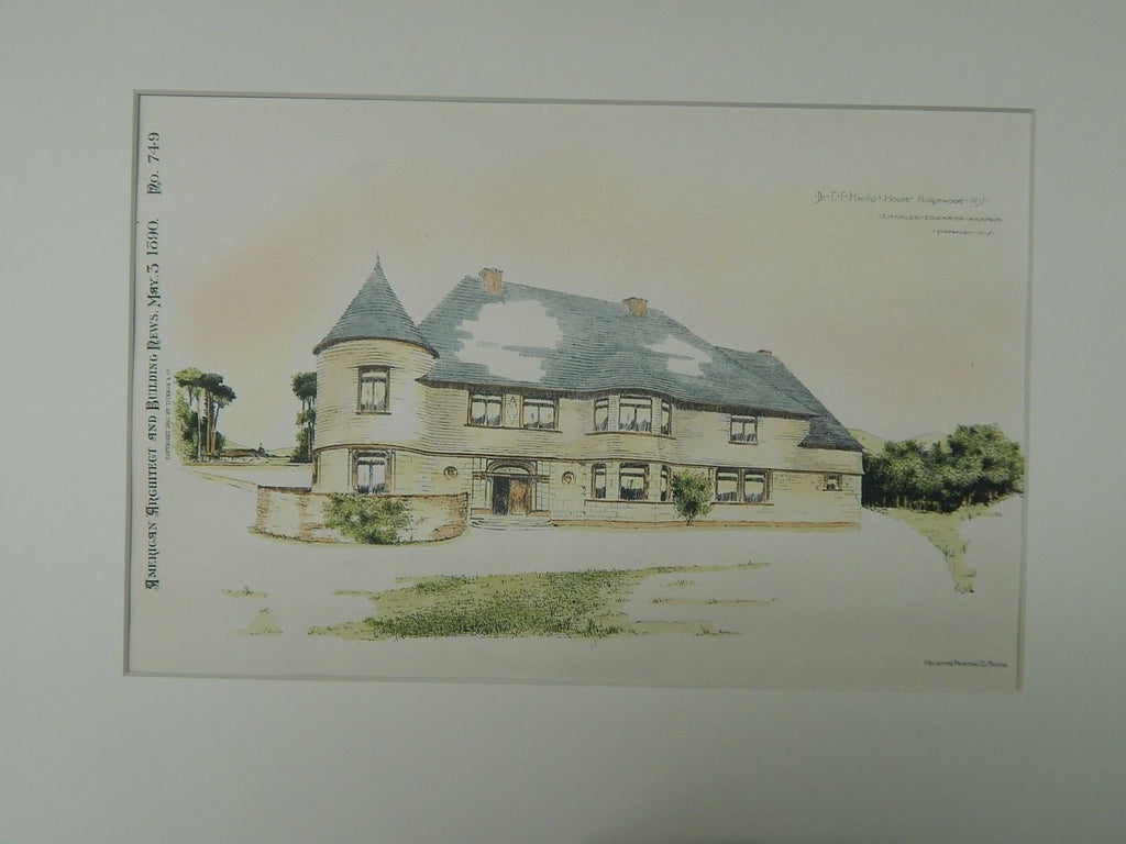 Dr. E.F. Hank's House, Ridgewood, NJ, 1890, Original Plan. Charles Edwards.