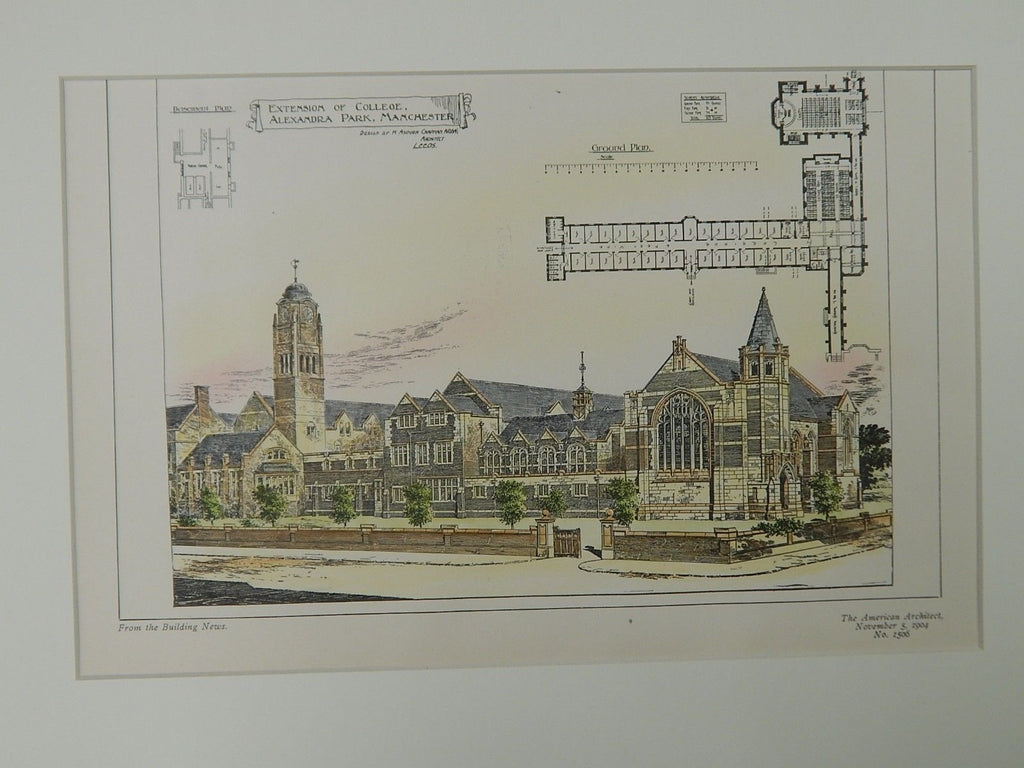 Extension of College, Alexandra Park, Manchester, UK, 1904. Original Plan.