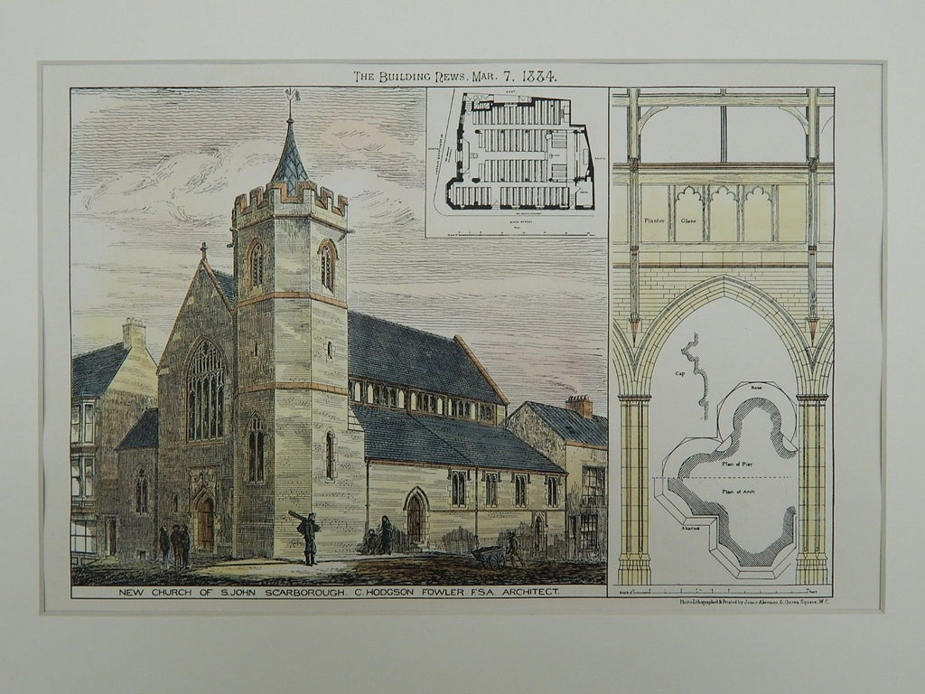 New Church of St. John, Scarborough, England, 1884, Original Plan. C. Hodgson Fowler.