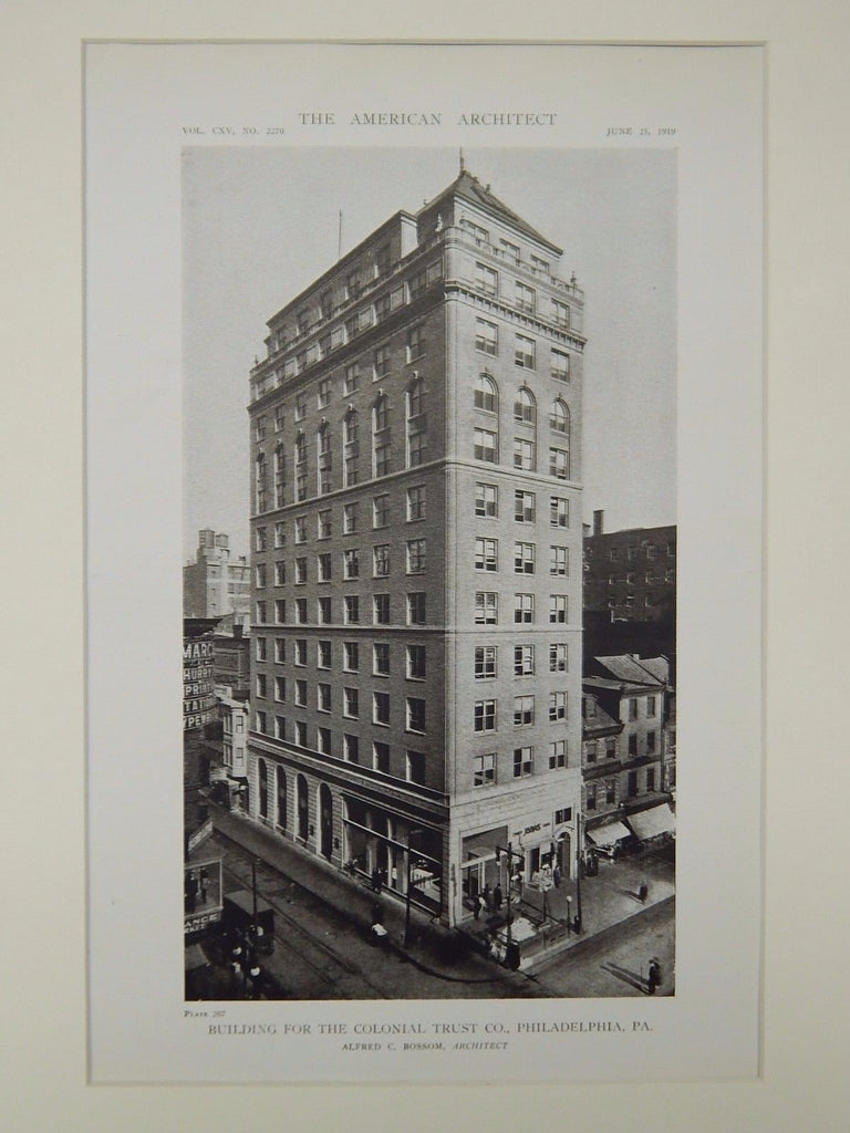 Building for the Colonial Trust Co., Philadelphia, PA, 1919, Lithograph. Alfred C. Bossom.