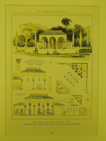 First Prize, Biscayne Boulevard Filling Station, Miami, FL, 1926, Original Plan. H. Roy Kelley.