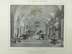 The Lounging Room, Hotel Oakland, Oakland, CA, 1914, Lithograph. Bliss & Faville.