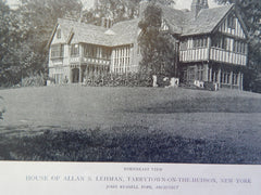 House of Allan S.Lehman, Exterior, Tarrytown on Hudson, NY,1919, Lithograph. John Russell Pope.