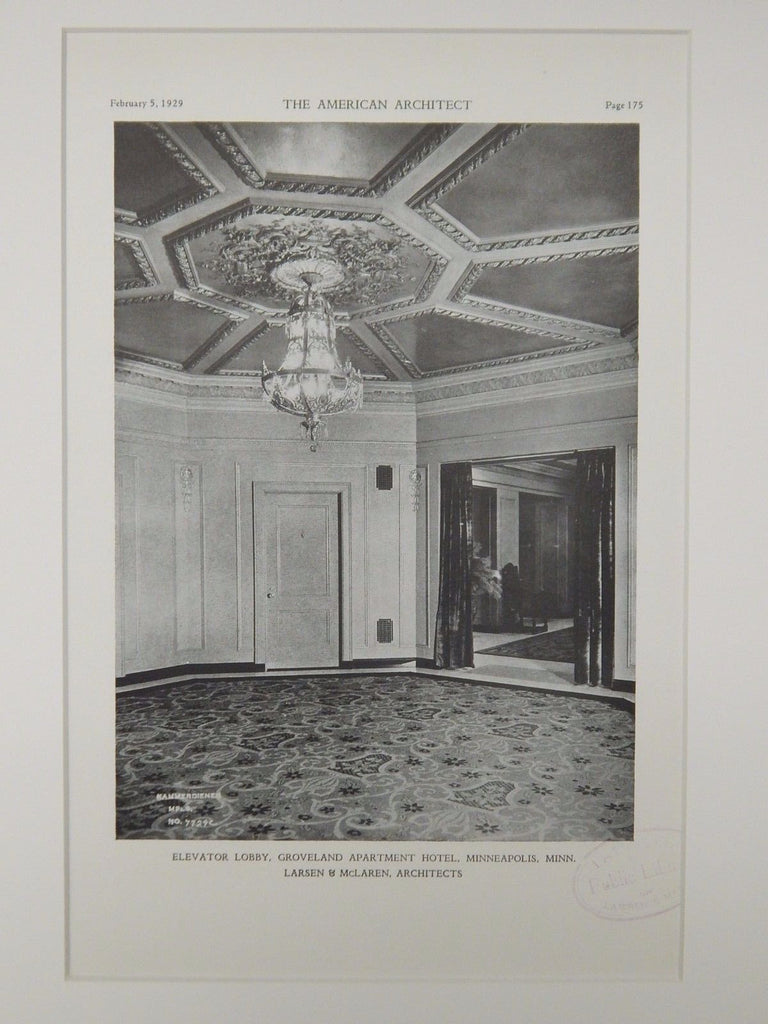 Elevator Lobby, Groveland Apartment Hotel, Minneapolis, MN, 1929, Lithograph. Larsen & McLaren.
