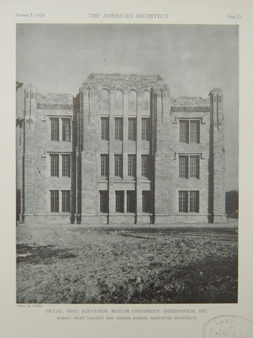 Detail, West Elevation, Butler University, Indianapolis, IN, 1929, Lithograph. Daggett & Hibben.