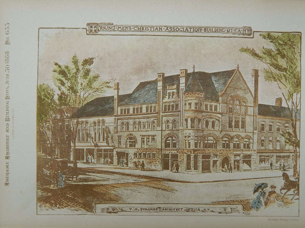 Young Men's Christian Association Building, Utica, NY, 1888, Original Plan. W.H. Symonds.