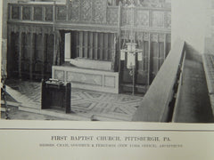Organ, First Baptist Church, Pittsburgh, PA, 1914. Early Photograph. Cram, Goodhue, & Ferguson.