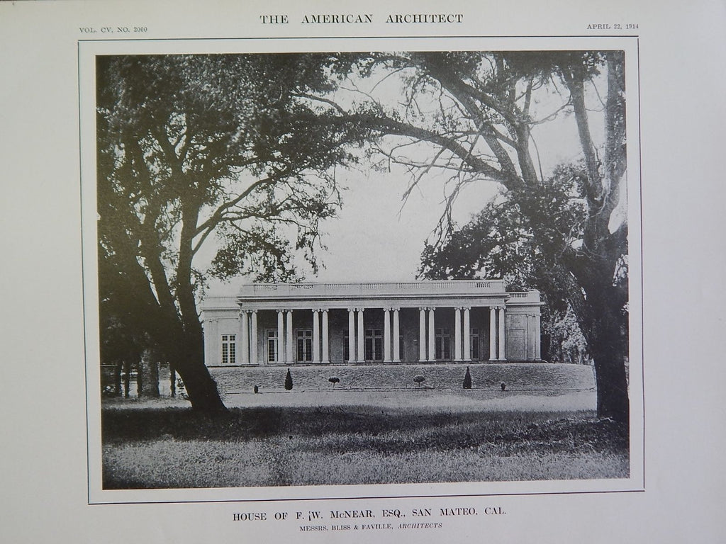 House of F. W. McNear, Esq., San Mateo, CA, 1914, Lithograph, Bliss & Faville.