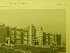General View, High School, Minneapolis, MN, 1914, Lithograph. William B. Ittner.