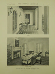 Porch & Dining Room, House of H. A. Fuller, Pasadena, CA, 1918, Lithograph. Reginald D. Johnson.