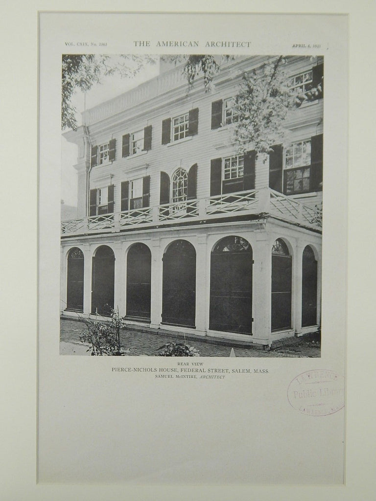 Rear View, Pierce-Nichols House, Federal Street, Salem, MA, 1921, Lithograph.  Samuel McIntire.