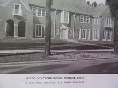 House of Lyford Moore, Detroit, MI, 1924, Lithograph. J.Ivan Dise.