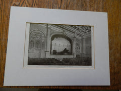 Interior of Aeolian Hall, 5th Avenue, New York, NY, 1906,Lithograph. J.H. Morgan.
