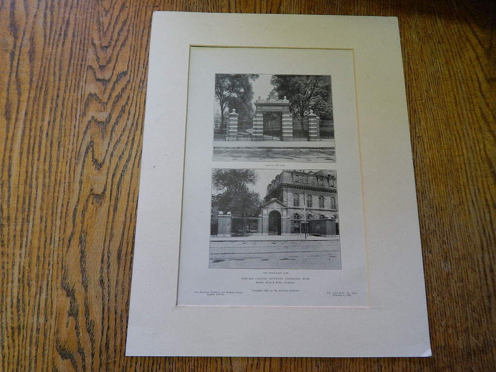 Harvard College Gateways,Cambridge, MA, 1905, Lithograph. McKim,Mead & White.