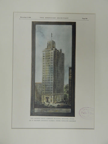 San Jacinto Trust Company Building, Houston, TX, 1928, Original Plan.  Northrop & Bossom.