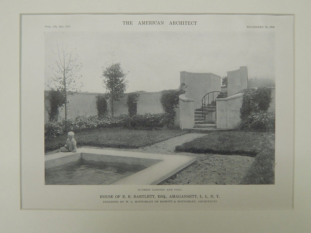 Sunken Garden & Pool, House of E. E. Bartlett, Amagansett, NY, 1916, Lithograph. W.L. Bottomley.