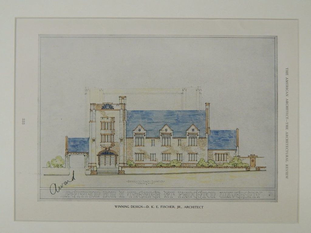 Winning Design, Theater at Princeton University, Princeton, NJ, 1924, Original Plan. D.K.E. Fisher, Jr.