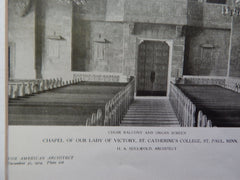 Balcony and Screen, Chapel of Our Lady of Victory, St. Catherines College, St. Paul, MN, 1924. H. A. Sullwold.