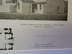 Amanda Anderson McCarthy Memorial Chapel, Carthay Center, Los Angeles ,CA, 1924, Lithograph. Alfred Eichler.