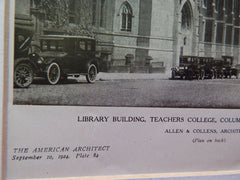 Perspective, Library Building, Teachers' College, Columbia University, New York, NY, 1924, Lithograph. Allen & Collens.