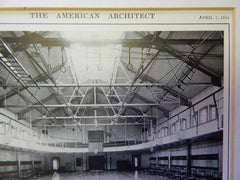 Perspective and Interior, Gymnasium and Domestic Science Building, Washington High School, Portland, OR, 1914. Mr. Ellis F. Lawrence and Mr. William G. Holford.