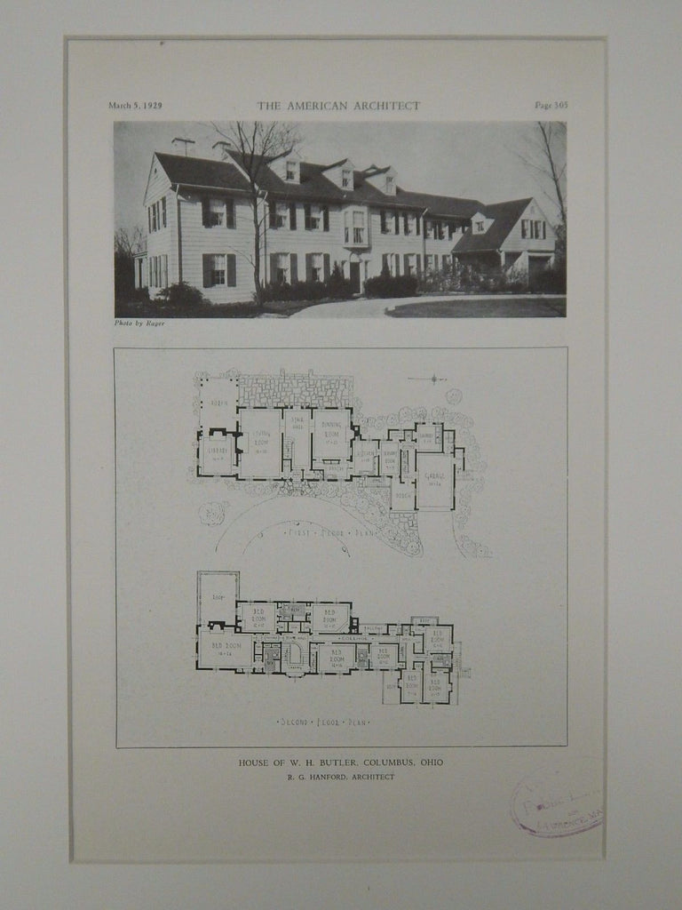 House of W. H. Butler, Columbus, OH, 1929, Lithograph. R.G. Hanford.