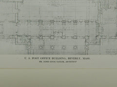 US Post Office Building, Beverly, MA, 1913, Original Plan. James Knox Taylor.