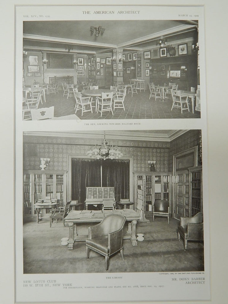 The Library, New Lotus Club, New York, New York, 1909, Lithograph. Mr. Donn Barber.